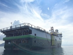Seismic vessel ship survey for oil and gas exploration in Andaman Sea offshore Myanmar