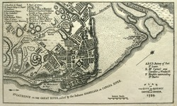 Seize map of French Canada's Quebec City, just before Canada fell to England in 1759.