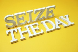 Seize The Day alphabet letters on yellow background