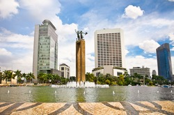 Selamat Datang Monument and fountain in center of Jakarta, Indonesia.