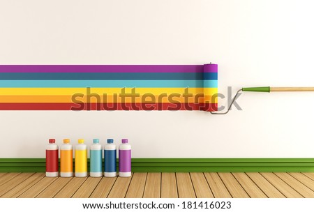 Select color swatch to paint wall in a empty room with samples of colorful paint rendering