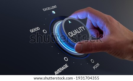 Selecting excellent quality to increase customer satisfaction. Quality assurance management and control for products or services. Concept with QA manager's hand turning knob. Foto stock ©