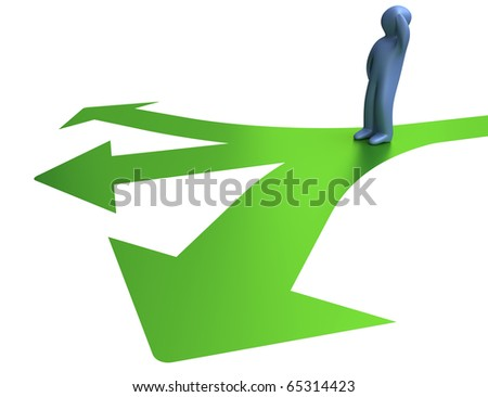 Selecting the right direction. Isolated white background.