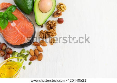 selection Food sources of omega 3 and healthy fats. Top view with copy space