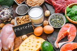 selection food sources of protein. healthy diet eating concept. close up