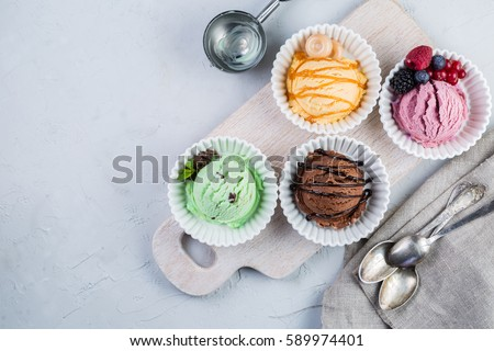 Selection of colorful ice cream scoops, copy space #589974401