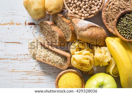Selection of comptex carbohydrates sources on white background