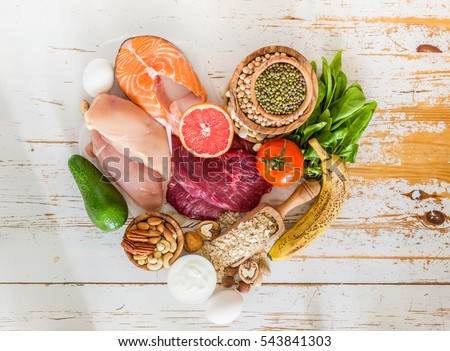 Shutterstock Selection of food for weight loss, copy space