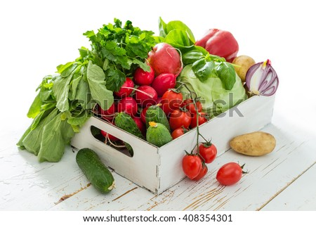 Selection of fresh vegetables from farmers market, copy space #408354301