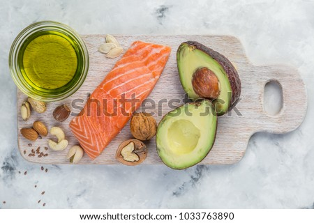 Selection of good fat sources - healthy eating concept. Ketogenic diet concept #1033763890