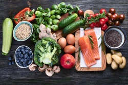 Selection of healthy food for clean eating. Top view
