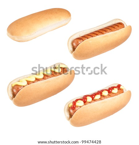 Selection of hot dogs with different sauces isolated on a white background