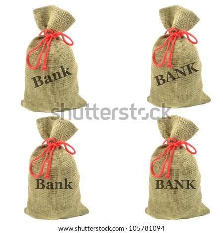 Selection of isolated sacks with the word bank written on the front