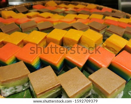 Selection of Malaysian desserts on green leaves