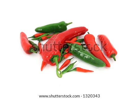Selection of mixed peppers including jalapeno and birds eye peppers.