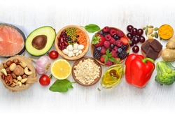 Selection of nutritive food - heart, cholesterol, diabetes. Flat lay, top view, copy space.