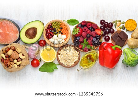 Selection of nutritive food - heart, cholesterol, diabetes. Flat lay, top view, copy space. #1235545756