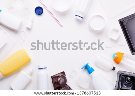 Selection of plastic garbage for recycling. Concept of recycling