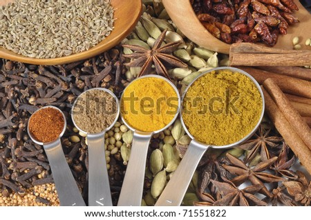 Selection of powdered spices with seeds in the background
