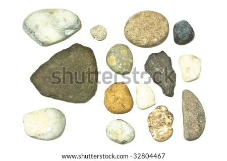 selection of rocks and stones isolated on white