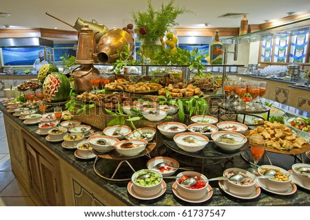 Selection of salads at a buffet bar in a luxury hotel restaurant