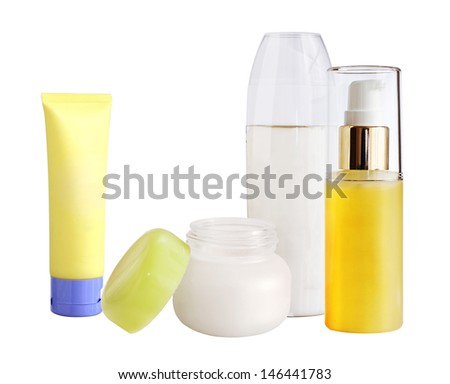 Selection of Skin Care Beauty Products isolated on white