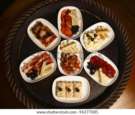 "Selection of Spanish ""tapas"" finger food or snacks"