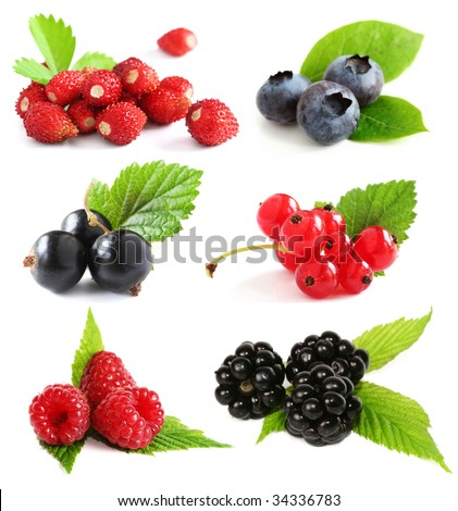 Selection of summer berry fruits including: blueberries, raspberries, black and red currants, wild strawberries, and blackberries with plant leaves. #34336783