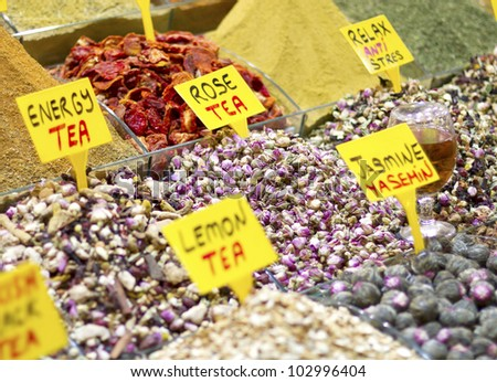 Selection of tea in Istanbul market