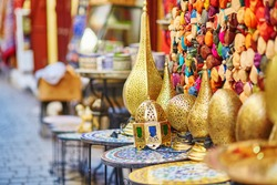 Selection of traditional lamps on Moroccan market (souk) in Fes, Morocco