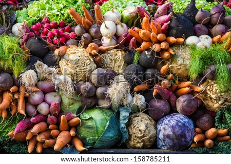 Selection of vegetables from a farmer's market in the small city of Colmar in the Alsace region in France ストックフォト ©