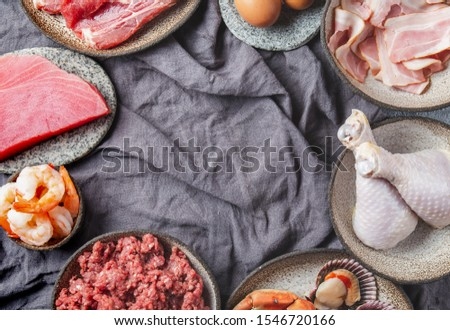 Selection protein sources. Seafood, Meat, megs and fat. Zero carbs diet concept #1546720166
