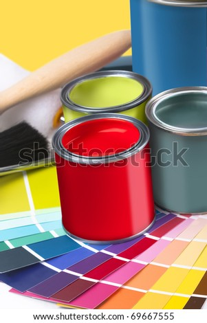 selectionof painting and home decorating coloured swatches