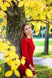 Selective focus. A young beautiful woman in a red knitted dress in an autumn forest among yellow foliage. The lady is leaning against a tree.