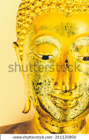Selective focus Buddha face background - vintage effect style pictures