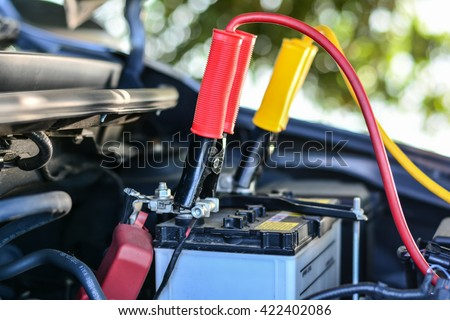 Selective focus charging car with electricity trough cables #422402086