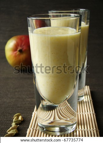 Selective focus image of Mang Lassi, a typical Indian drink with yoghurt.