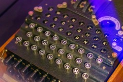 Selective focus, military enigma machine displayed at London science museum