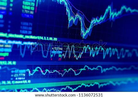 Selective focus of Business graph charts of financial instruments with various type of indicators combine with gold and account book and money. Concept investment. Moving average graph