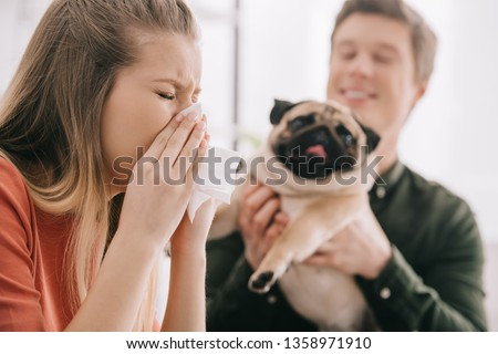 selective focus of sneezing woman allergic to dog near cheerful man with pug