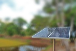 Selective focus of Solar cell or Photovoltaics module (PV module, Solar module) with blurred background and clipping path.