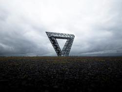 Selective focus of steel structure construction monument coal mining industry memorial Saarpolygon on Bergehalde Duhamel hill in Ensdorf Saarlouis Saarland Germany Europe