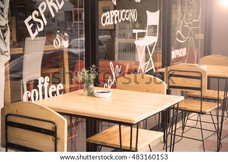 selective focus of table of...