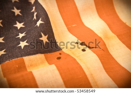 selective focus old - vintage  american flag shooting