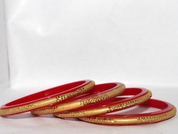 Selective focus on bangles. Indian Traditional Bangle Jewelry.