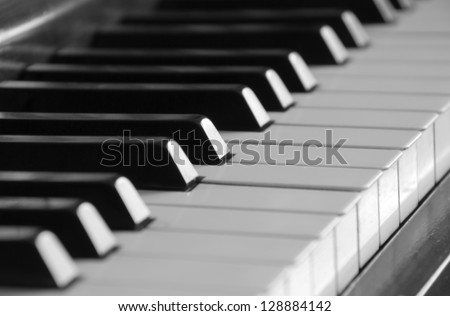 Selective focus on piano keys