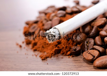 Selective focus on the cigarette