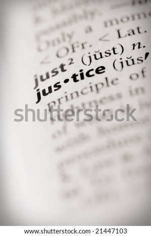 """Selective focus on the word """"justice""""."""