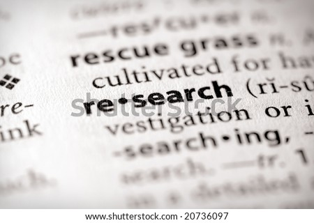"Selective focus on the word ""research"". Many more word photos in my portfolio..."