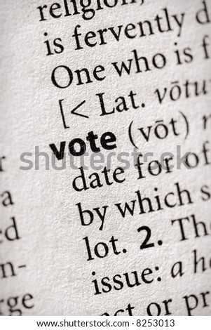 "Selective focus on the word ""vote"". Many more word photos for you in my portfolio..."